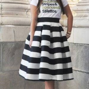 T&J designs black and white skirt